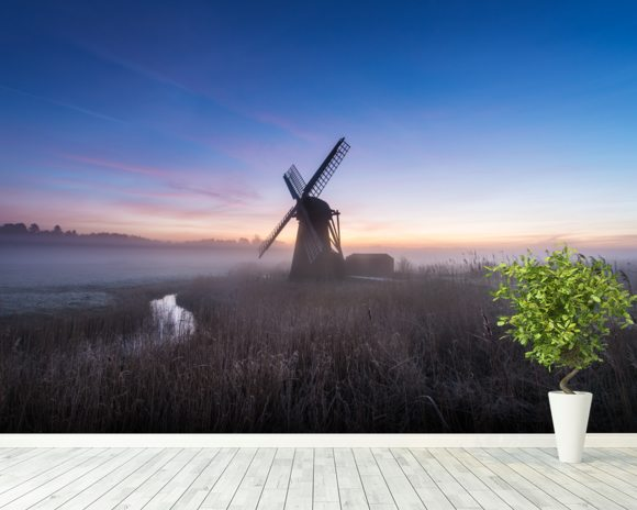Herringfleet Mill Twilight wall mural room setting