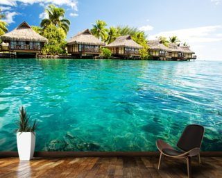 Tropical Lagoon Heaven Wall Mural Wall Murals Wallpaper