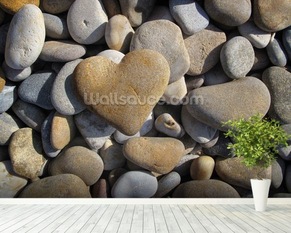 Pebble Heart mural wallpaper room setting