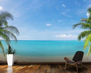 Tropical Beach Panoramic Wall Mural Part 94