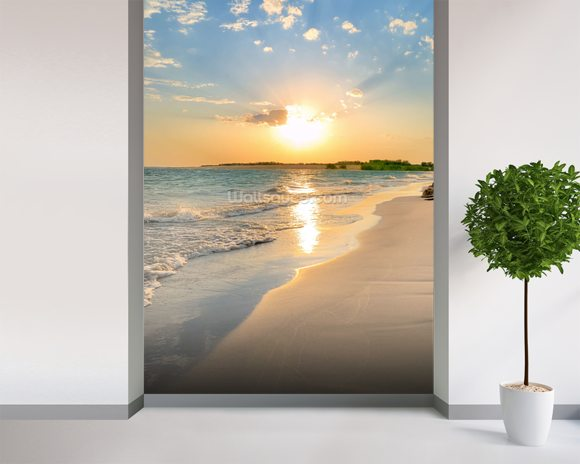 Tranquil beach sunset wallpaper wall mural wallsauce usa for Beach sunset mural
