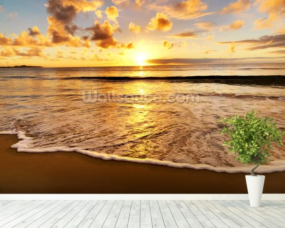 Beach Sunset wallpaper mural room setting