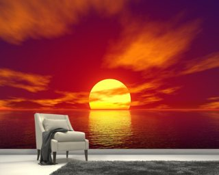 Beach wallpaper wall murals wallsauce for Beach sunset wall mural