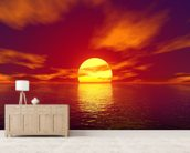 Red Sunset mural wallpaper living room preview