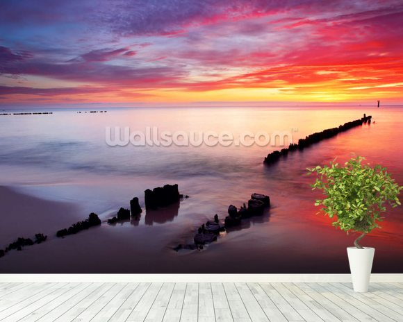 Baltic Sea Sunrise wallpaper mural room setting
