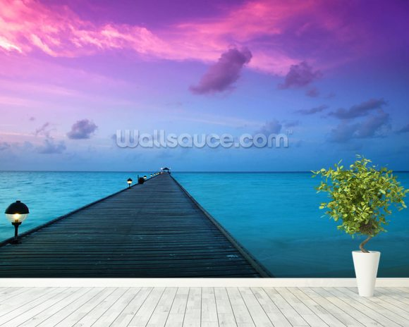 Sunset in the Maldives wall mural room setting