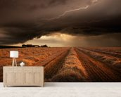 Dark Clouds mural wallpaper living room preview