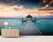 Maldives Jetty Sunrise wallpaper mural living room preview