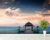 Maldives Jetty Sunrise wallpaper mural in-room view