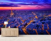 Paris Blues mural wallpaper living room preview