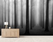 In a Fog mural wallpaper living room preview