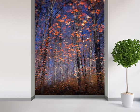 Autumn Leaves Fall wall mural room setting