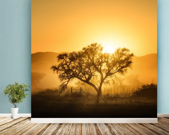 Golden Sunrise wallpaper mural room setting