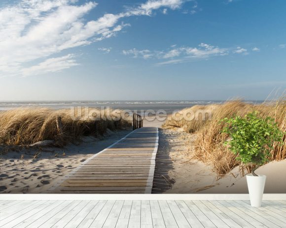 Windswept beach boardwalk wallpaper wall mural wallsauce for Beach mural wallpaper