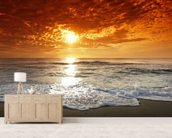 Ocean Sunset wall mural living room preview