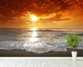 Ocean Sunset wall mural in-room view