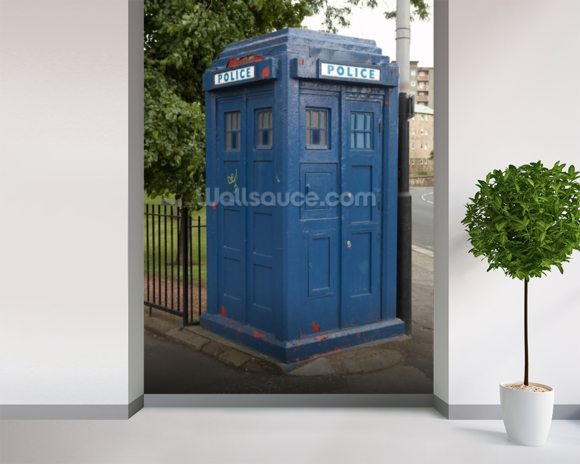 Tardis Police Box mural wallpaper room setting