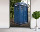 Tardis Police Box mural wallpaper in-room view