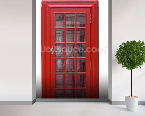 Old Red Phonebox wall mural room setting