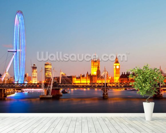 London Eye Panorama mural wallpaper room setting