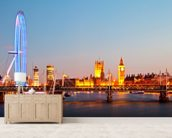 London Eye Panorama mural wallpaper living room preview