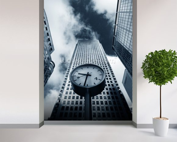 Canary Wharf Clock wall mural room setting