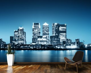 Canary Wharf from Greenwich. Wall Mural Wallpaper Wallpaper Wall Murals