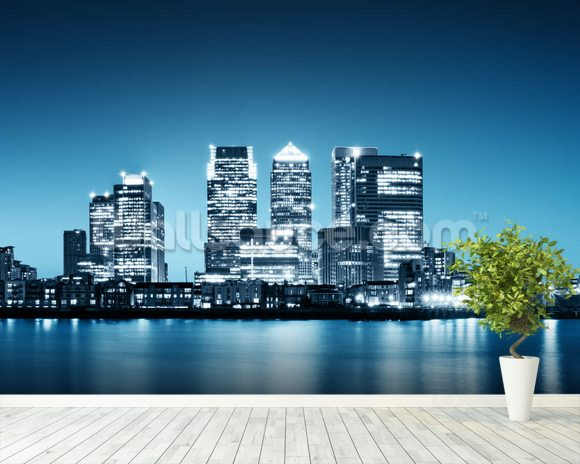 Canary Wharf from Greenwich. wall mural room setting