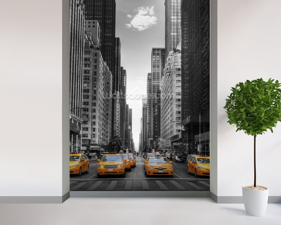 New York Yellow Taxis wallpaper mural room setting