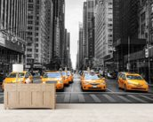 New York Yellow Taxis wallpaper mural living room preview