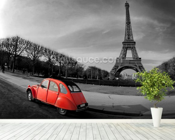 Eiffel Tower and Old Red Citroen wallpaper mural room setting