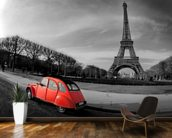 Eiffel Tower and Old Red Citroen wallpaper mural kitchen preview