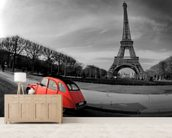 Eiffel Tower and Old Red Citroen wallpaper mural living room preview