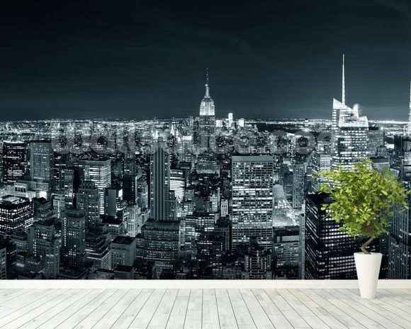 New York Manhattan Skyline wallpaper mural room setting