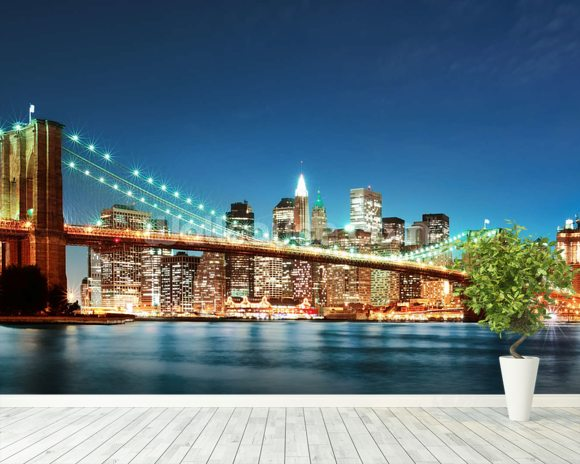 Brooklyn Bridge at Night Wallpaper Wall Mural Wallsauce USA
