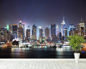 New York - Manhattan Skyline at Night wallpaper mural in-room view