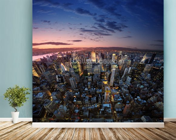 Manhattan Sunset mural wallpaper room setting