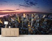 Manhattan Sunset mural wallpaper living room preview
