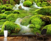 Mountain stream, mossy stones mural wallpaper kitchen preview