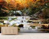 Natural Autumn Waterfall wallpaper mural living room preview