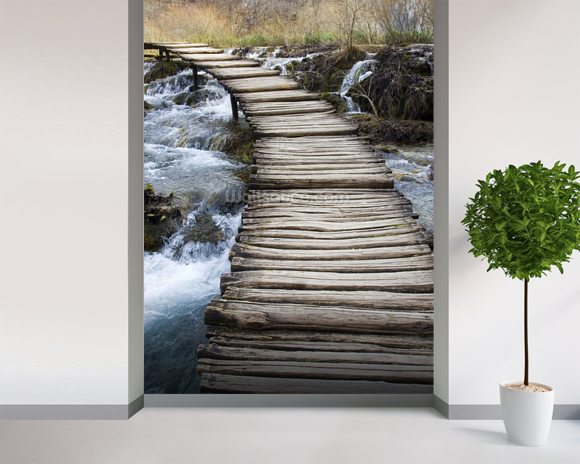 Wooden Bridge mural wallpaper room setting