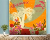Vintage Hawaiian mural wallpaper in-room view