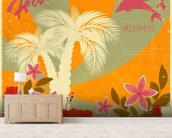 Vintage Hawaiian mural wallpaper living room preview