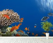 Tropical Fish on Coral Reef wall mural in-room view