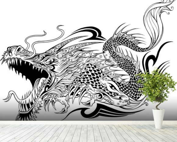 Tattoo - Dragon Sketch wall mural room setting