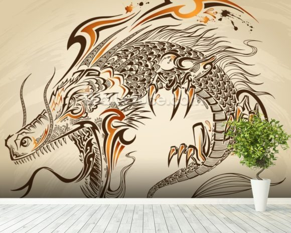 Tattoo Art - Dragon Illustration wall mural room setting