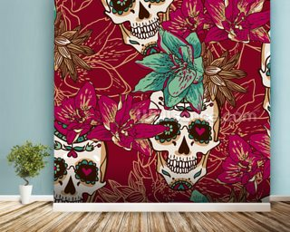 Tattoo - Skull Hearts and Flowers wall mural