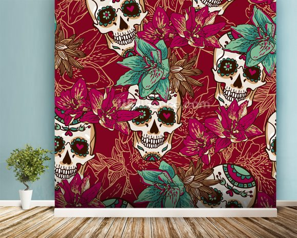 Tattoo - Skull Hearts and Flowers wall mural room setting