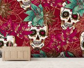 Tattoo - Skull Hearts and Flowers wall mural living room preview