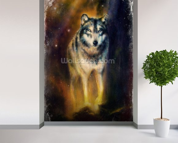 Wolf in the Night wall mural room setting